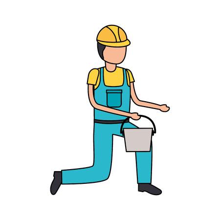 worker construction tool repair bucket vector illustration design Illustration