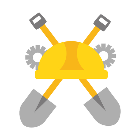 helmet shovels gear construction tool vector illustration