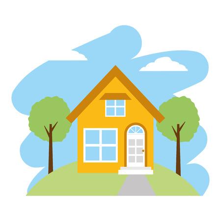 house garden tree landscape vector illustration design
