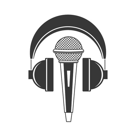 microphone and headphones audio music vector illustration