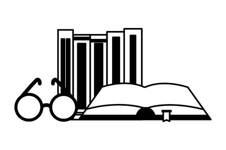 world book day books eyeglasses vector illustration