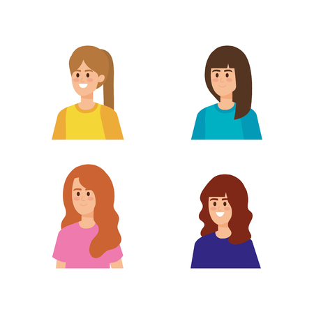 set pretty girls with hairstyle and blouse vector illustration Çizim