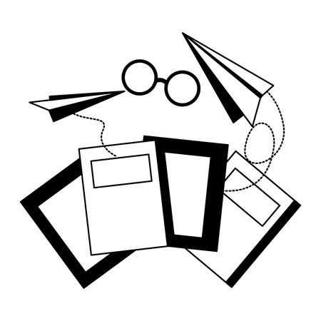 world book day books eyeglasses paper plane vector illustration