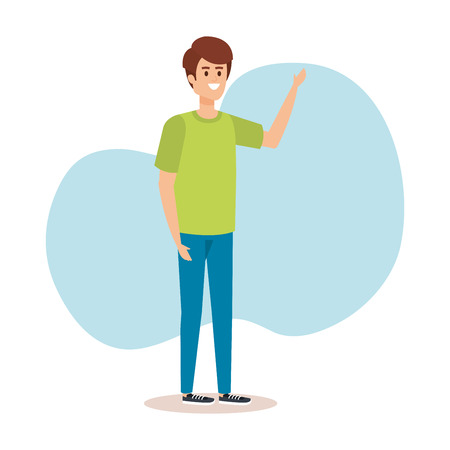 nice boy with hairstyle and casual clothes vector illustration Иллюстрация