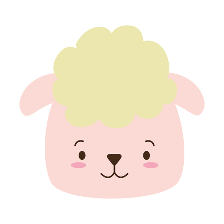 cute sheep face cartoon vector illustration design