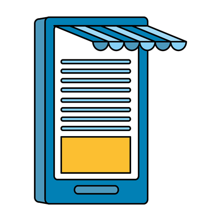 smarphone with ecommerce tent vector illustration design
