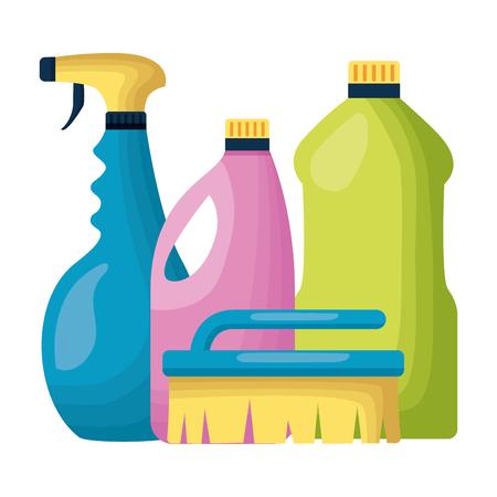 spray brush bottles spring cleaning tools vector illustration