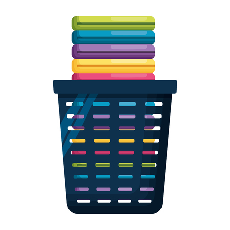 basket clothes laundry spring cleaning tools vector illustration 矢量图像