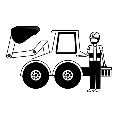 worker construction toolbox and bulldozer vector illustration Stock Vector - 122918990
