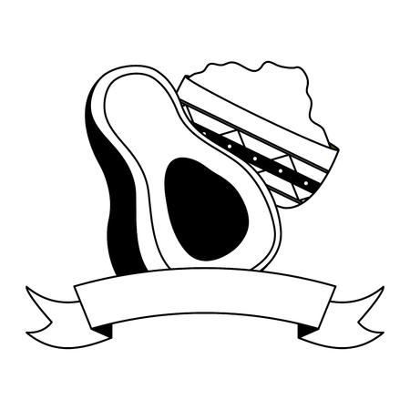 avocado and guacamole sauce in bowl vector illustration Stok Fotoğraf - 122919002