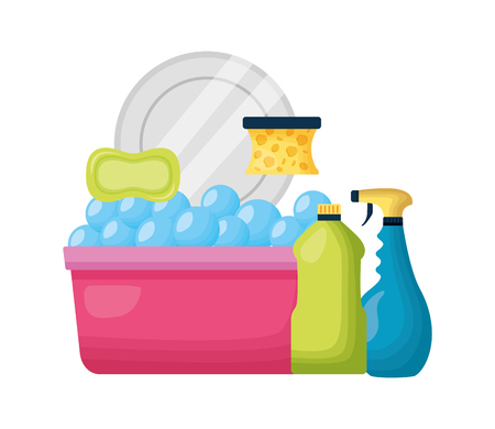 bucket sponge soap spray dish spring cleaning tools vector illustration