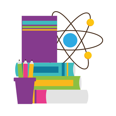 school science books molecule pencils vector illustration design
