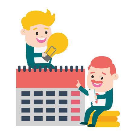 businessmen calendar money online payment vector illustration Çizim