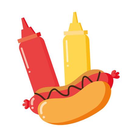 hot dog sauces on white background vector illustration