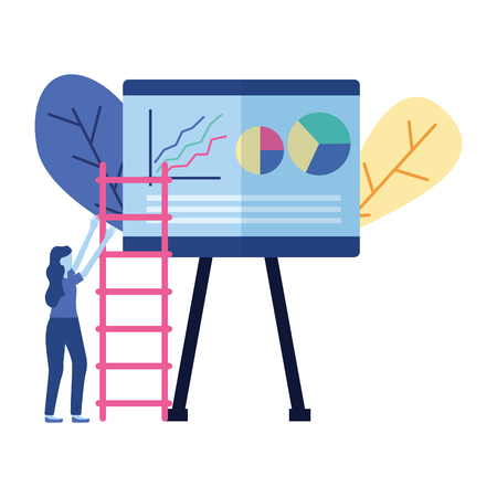 business woman board presentation and ladder vector illustration
