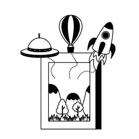 world book day literature rocket plane ufo vector illustration Illustration