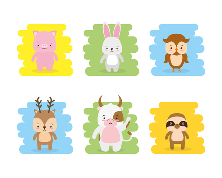 cute animals owl pig rabbit bull deer vector illustration Illustration