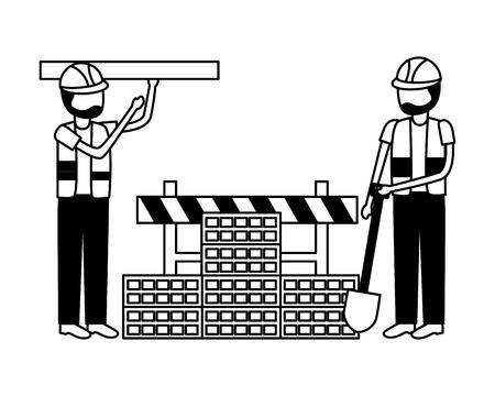 workers construction shovel wall brick equipment vector illustration Stock Illustratie