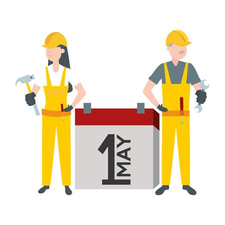 happy labour day man woman worker calendar vector illustration