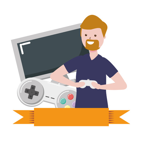 man playing video game - my hobby vector illustration