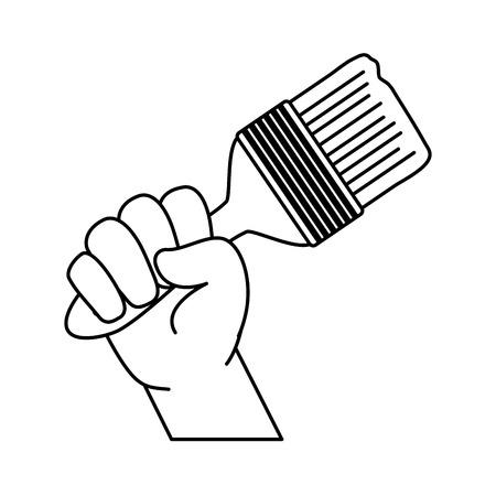 hand with brush repair tool vector illustration