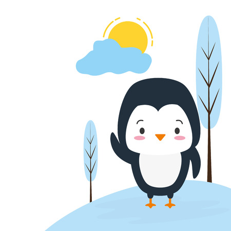 cute penguin animal cartoon vector illustration design image
