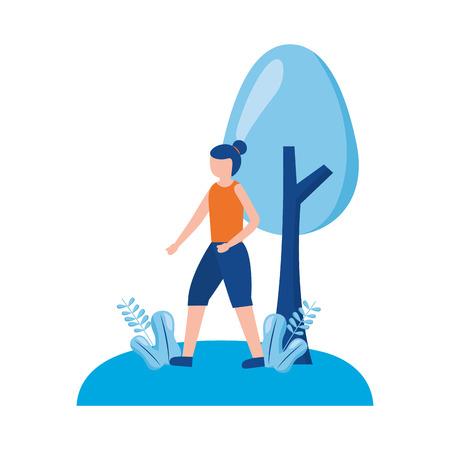 woman training sport activity outdoors vector illustration