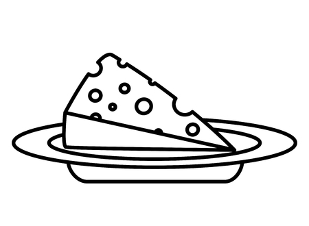 slice cheese fresh on dish vector illustration Standard-Bild - 122919213