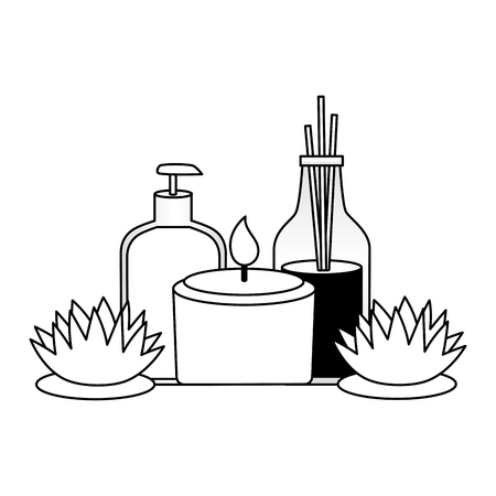 lotion oil bottles candle flowers spa treatment therapy vector illustration Foto de archivo - 122919265