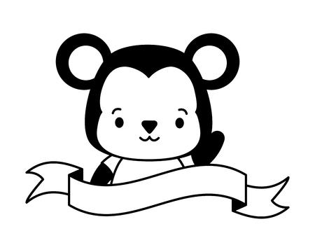 cute monkey animal cartoon sticker vector illustration design Stock Illustratie