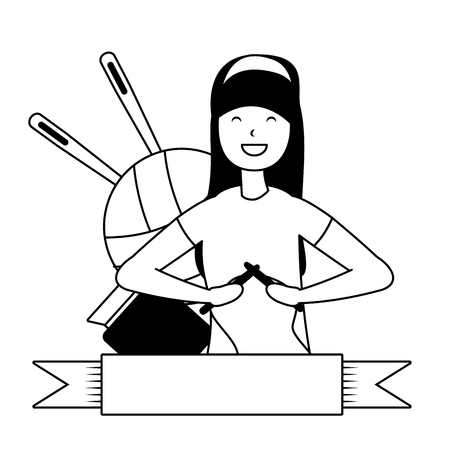woman knitting with wool - my hobby vector illustration  イラスト・ベクター素材