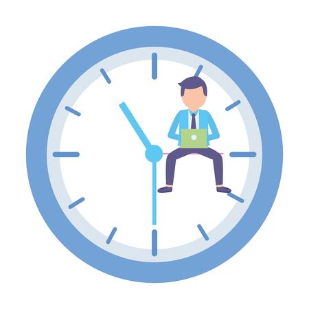 businessman laptop clock time work vector illustration Stock Vector - 122919301