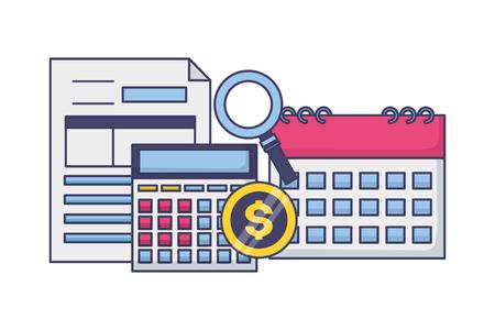 calculator calendar form analysis money tax time payment vector illustration Stock Illustratie