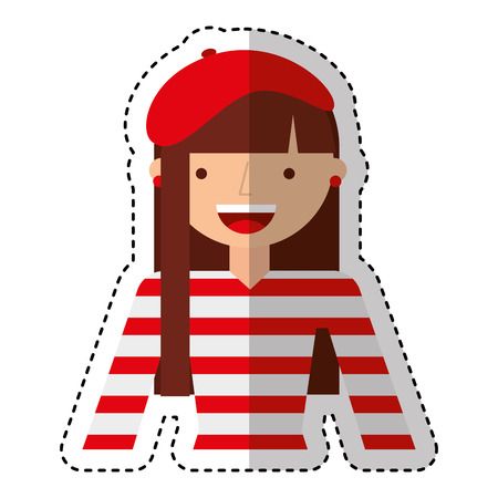 french woman avatar character vector illustration design Illustration