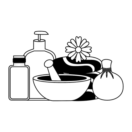 spa treatment therapy stones bowl lotion gel vector illustration