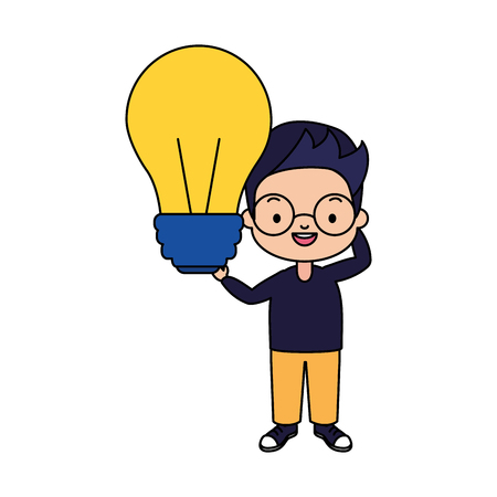 school boy with light bulb vector illustration