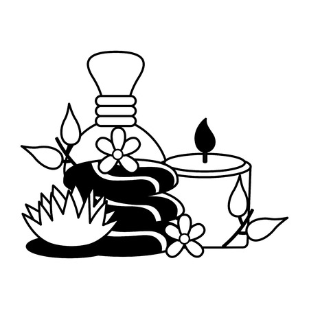 hot compress candle stones flowers spa therapy vector illustration