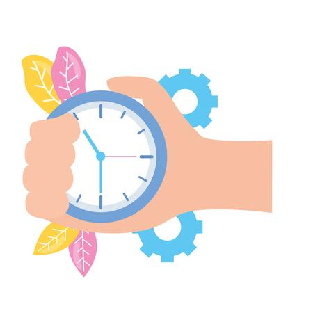 hand with clock time work gears vector illustration 版權商用圖片 - 122919386