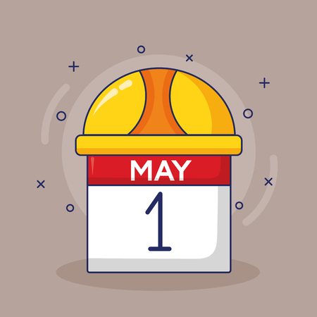 calendar and hardhat labour day vector illustration