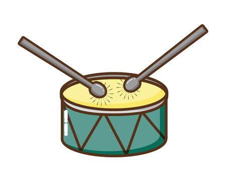 Tambor y baquetas icono aislado, diseño de ilustraciones vectoriales Ilustración de vector