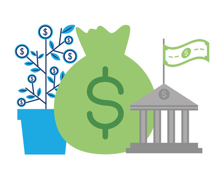 money bag plant and bank online payment vector illustration