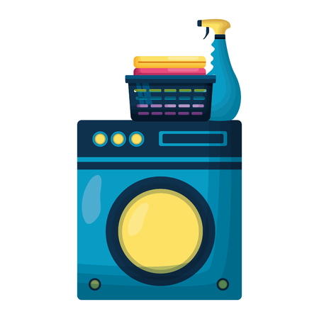 washing machine laundry spring cleaning tools vector illustration Ilustração