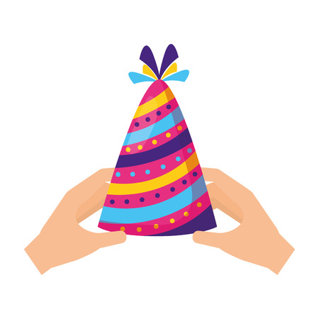 hands with party hat celebration vector illustration design Stock Illustratie