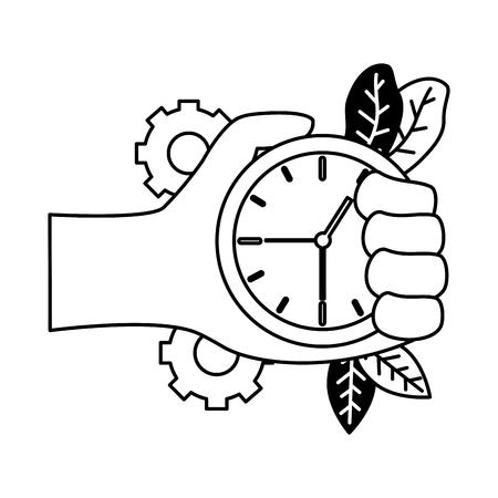 hand with clock time work gears vector illustration 版權商用圖片 - 122919422
