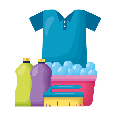 shirt laundry bucket brush spring cleaning tools vector illustration
