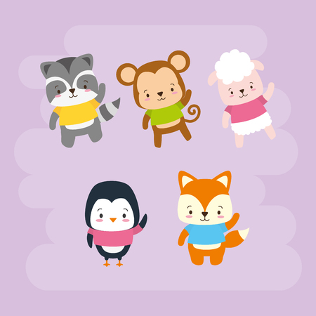 cute animals cartoon characters set vector illustration design Stock Vector - 122919429