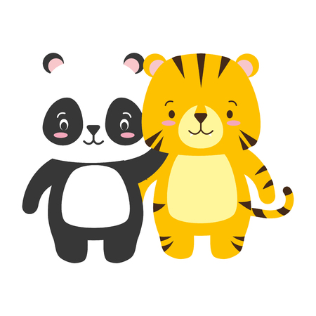 cute panda and tiger animal cartoon vector illustration Banque d'images - 122919433