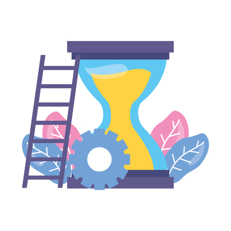 Horloge de sablier de travail engrenages escaliers vector illustration