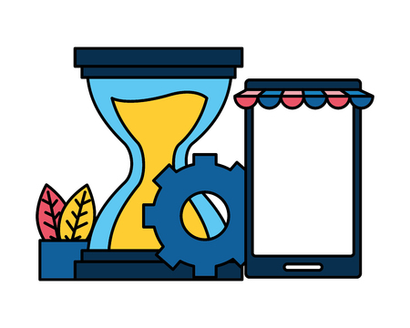 mobile hourglass gear online shopping vector illustration Illustration