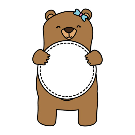 mom bear with badge blank background vector illustration